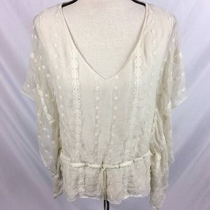 Rory Beca Sheer V-Neck Flutter Sleeve Top Lace
